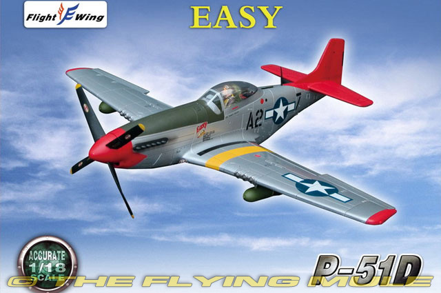 """Flight Wing 1//18 P51 WWII US Army Air Force /""""EASY/"""" MUSTANG Fighter Plane Model"""